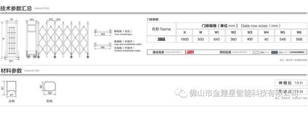 建星380A3伸缩门产品技术参数