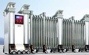 不锈钢伸缩门 - 精钢门G301B(双立柱) - 杭州中出网-城市出入口设备门户