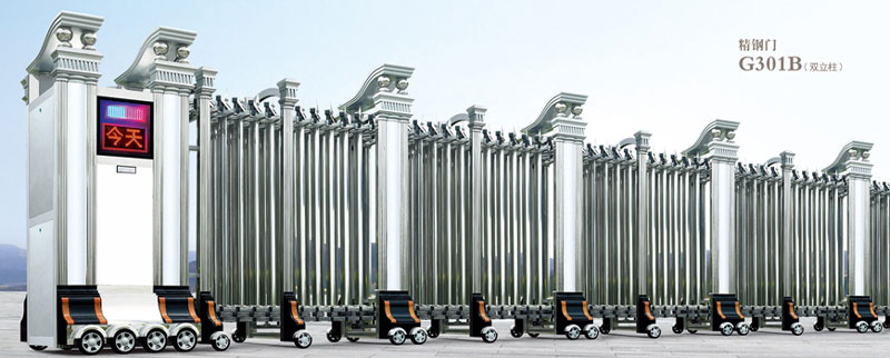 不锈钢伸缩门 - 精钢门G301B(双立柱) - 济南中出网-城市出入口设备门户