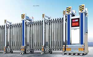 不锈钢伸缩门 - 精钢门G396A - 济南中出网-城市出入口设备门户