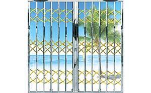 不锈钢拉闸门 - 钛金榄子花型拉闸门 - 惠州中出网-城市出入口设备门户