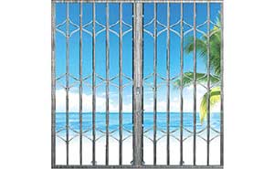 不锈钢拉闸门 - 拉丝交叉型拉闸门 - 威海中出网-城市出入口设备门户