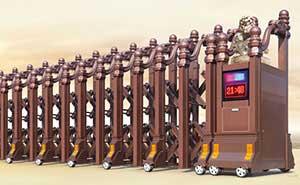 铝合金伸缩门 - 龙韵393A(古铜金) - 大同中出网-城市出入口设备门户