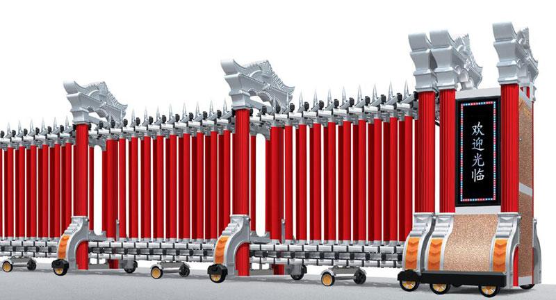 铝合金伸缩门 - 巨冠902A双立柱(铝合金) - 北海中出网-城市出入口设备门户