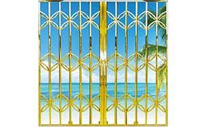 不锈钢拉闸门 - 全钛金花型拉闸门 - 佳木斯中出网-城市出入口设备门户
