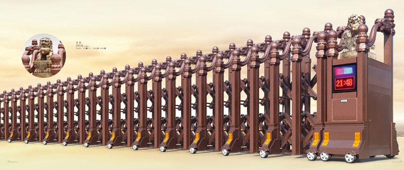 铝合金伸缩门 - 龙韵393A(古铜金) - 崇左中出网-城市出入口设备门户