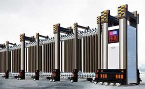 铝合金伸缩门 - 瑞盾889A(深咖) - 白银中出网-城市出入口设备门户