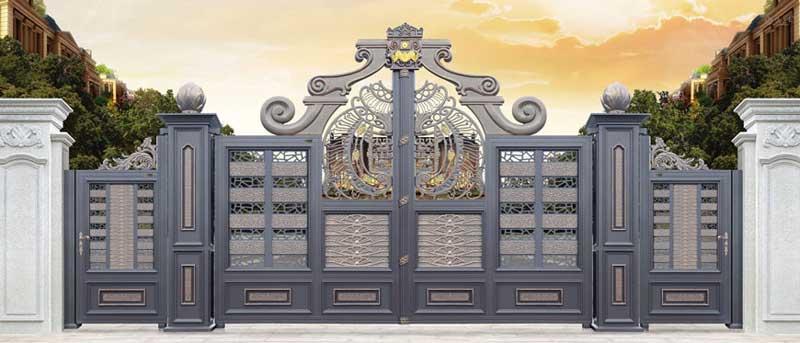 铝艺大门 - 卢浮幻影-皇冠-LHG17101 - 白银中出网-城市出入口设备门户
