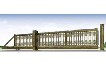 悬浮平移门 - 铝艺悬浮门(青古铜)HL-XFA3 - 北京中出网-城市出入口设备门户